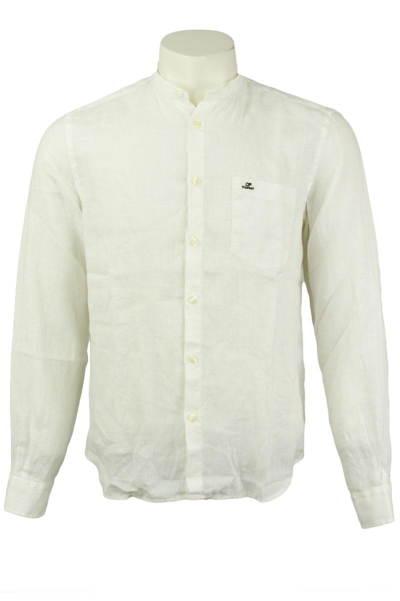 CP Company Linen Shirt Crewneck Collar White Gauze Foto 1