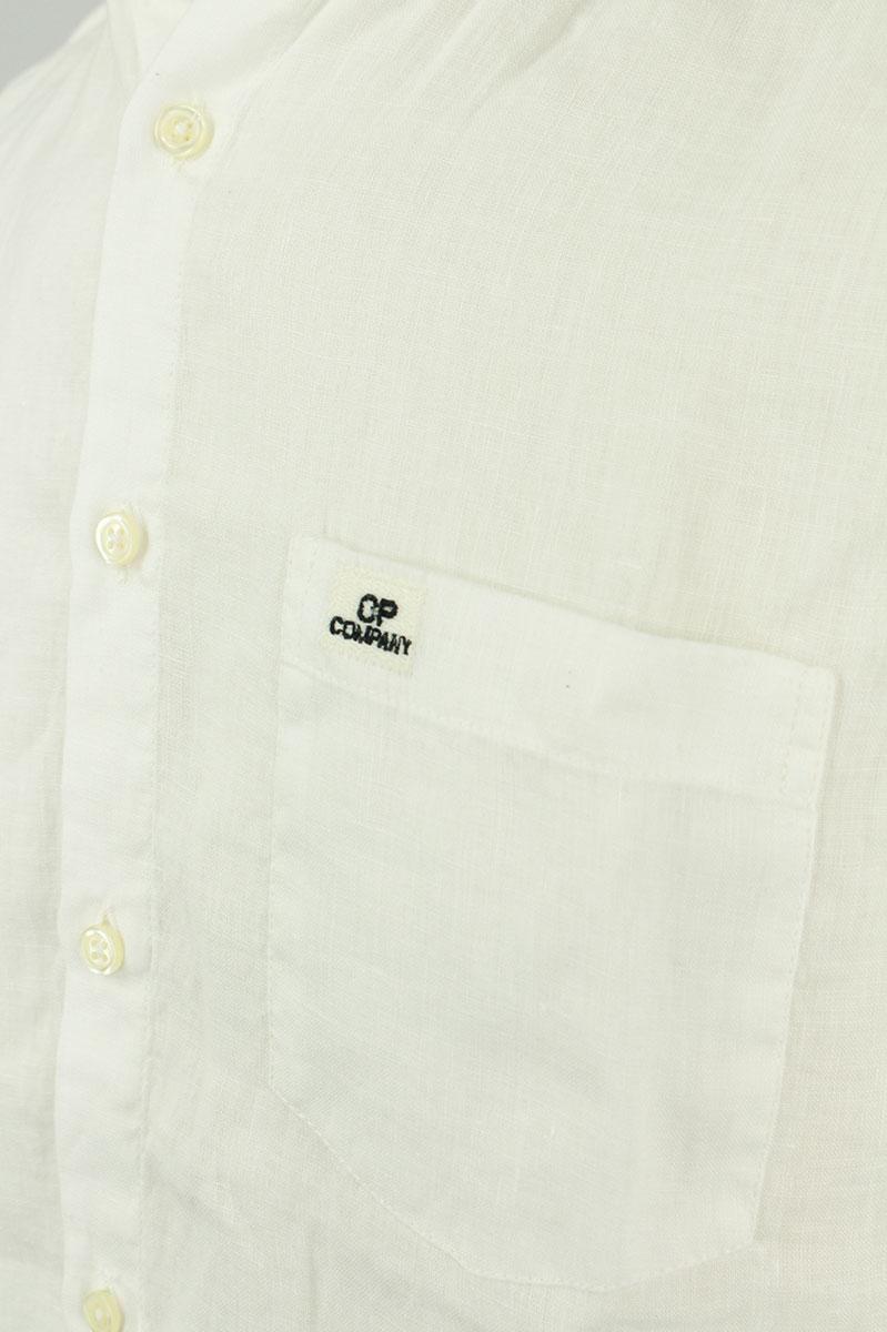 CP Company Linen Shirt Crewneck Collar White Gauze Foto 3