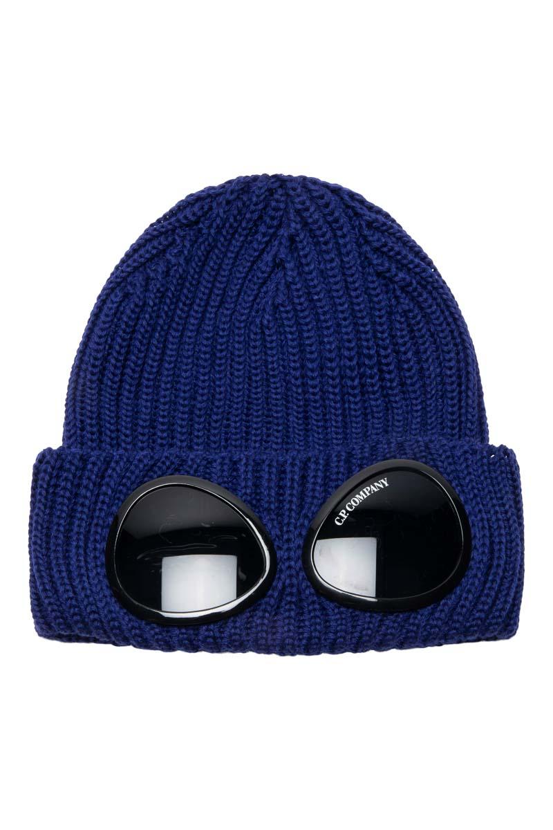 C.P. Company Muts Extrafine Merino wool Knit Cap Inktblauw Foto 1