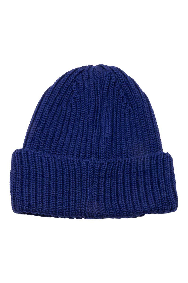 C.P. Company Muts Extrafine Merino wool Knit Cap Inktblauw Foto 2