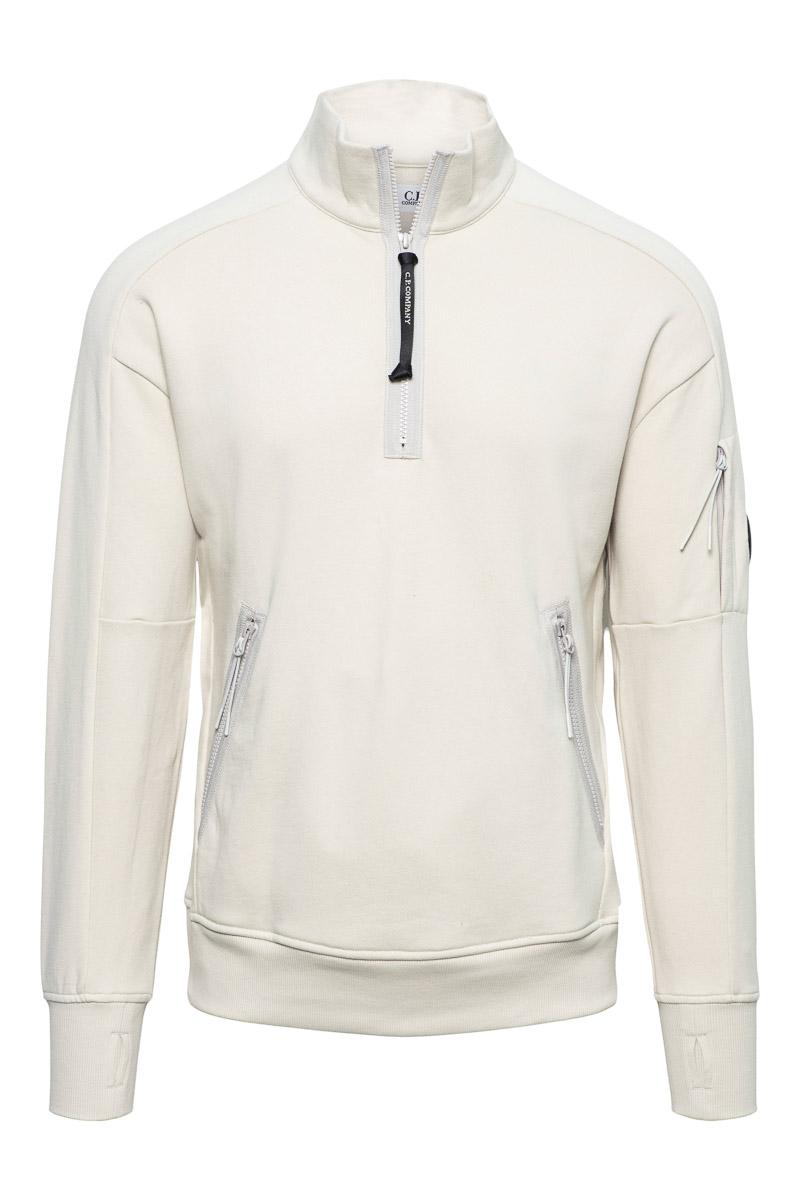 CP Company Polo Sweater Cotton Fleece Zip licht Beige Foto 1