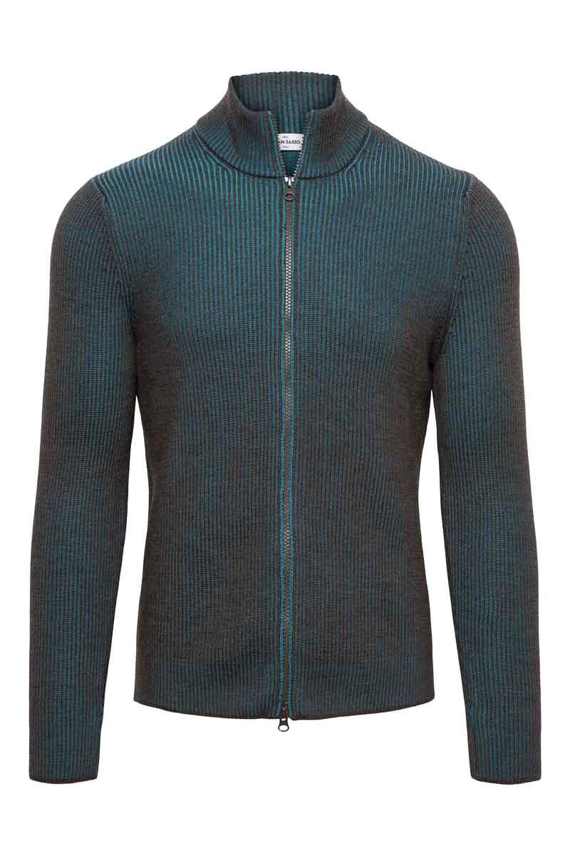 Gran Sasso Vest zip Dubbel Rib bruin en turquoise Foto 1