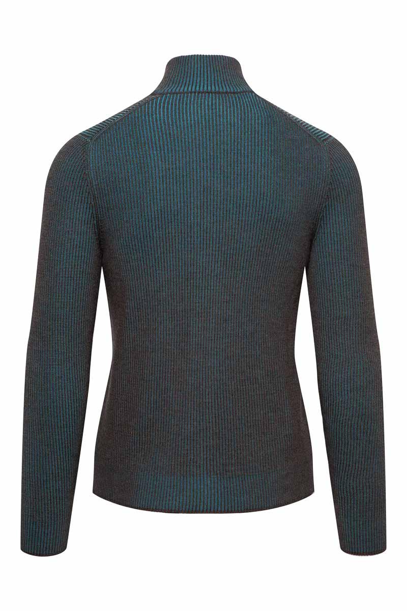 Gran Sasso Vest zip Dubbel Rib bruin en turquoise Foto 2