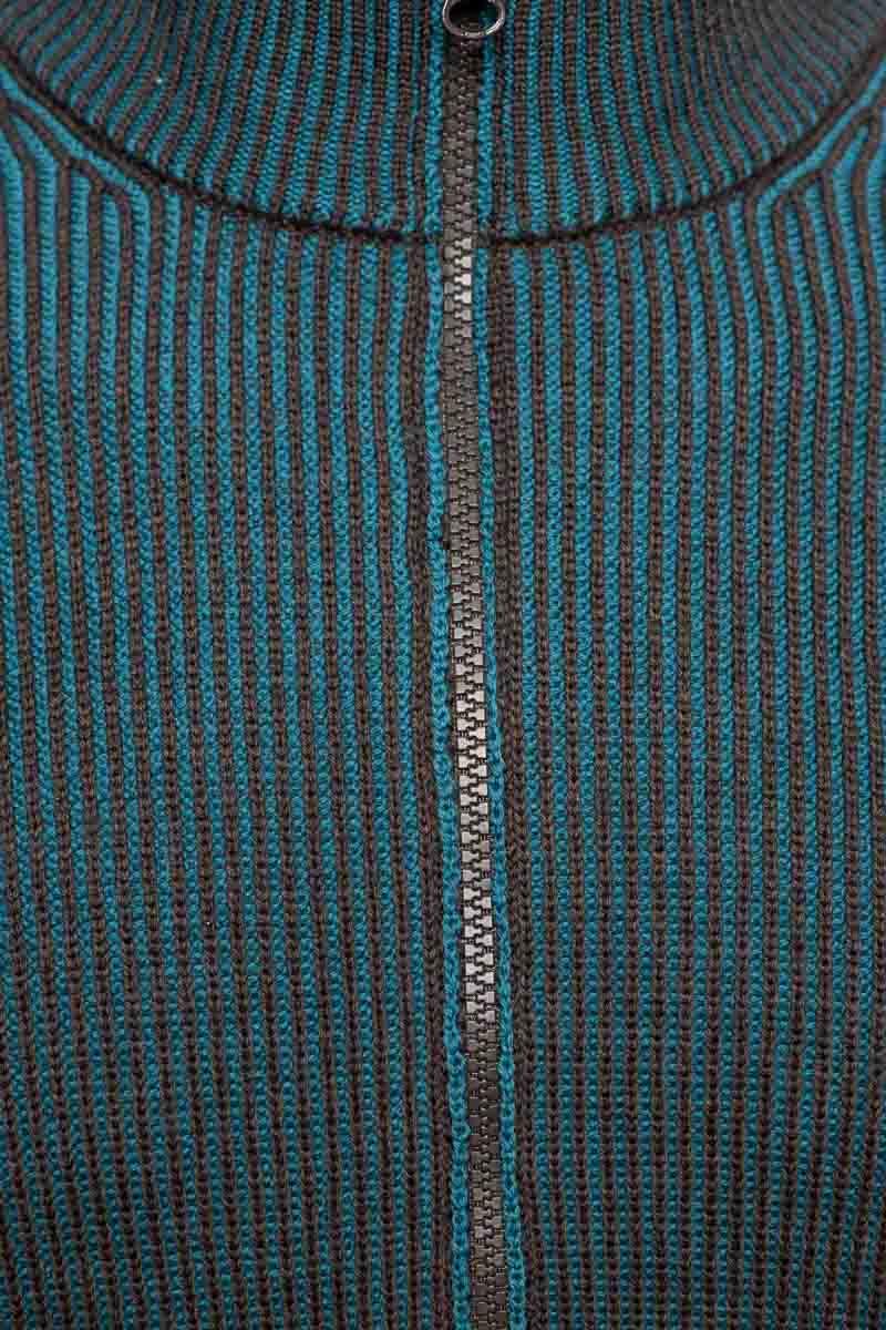 Gran Sasso Vest zip Dubbel Rib bruin en turquoise Foto 3
