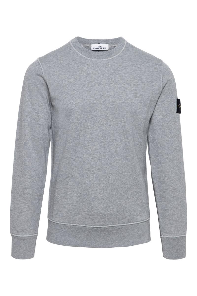 Stone Island Sweater 63051 Cotton Fleece 100% Katoen Lichtgrijs Foto 1