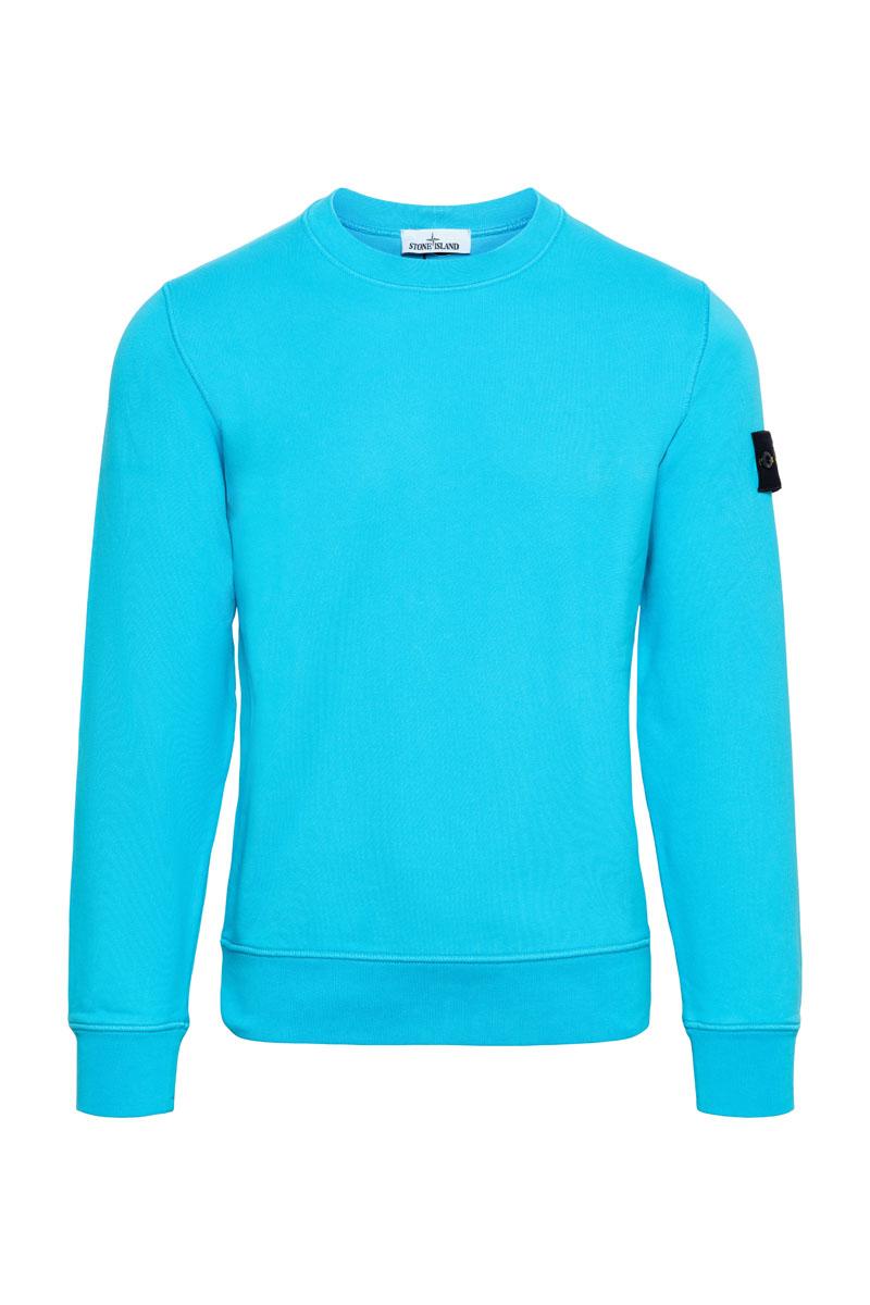 Stone Island Sweater 63051 Cotton Fleece 100% Katoen Turquoise