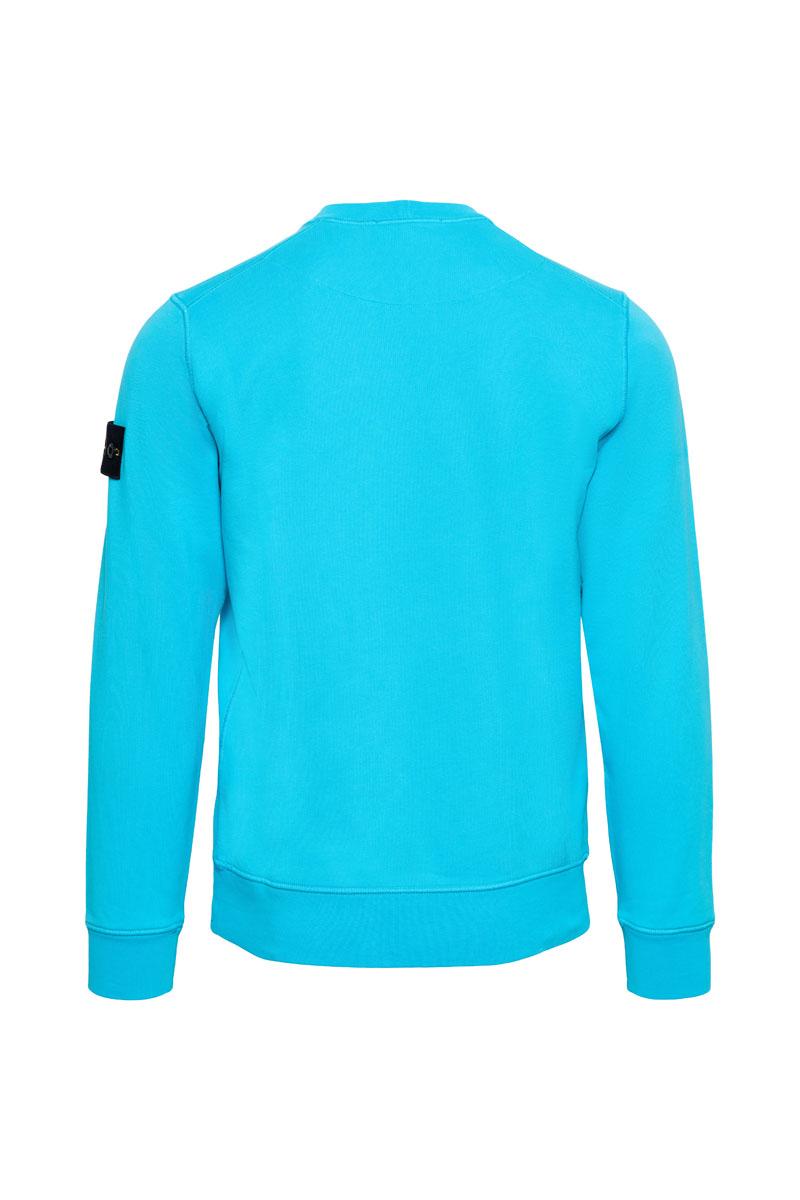 Stone Island Sweater 63051 Cotton Fleece 100% Katoen Turquoise Foto 2