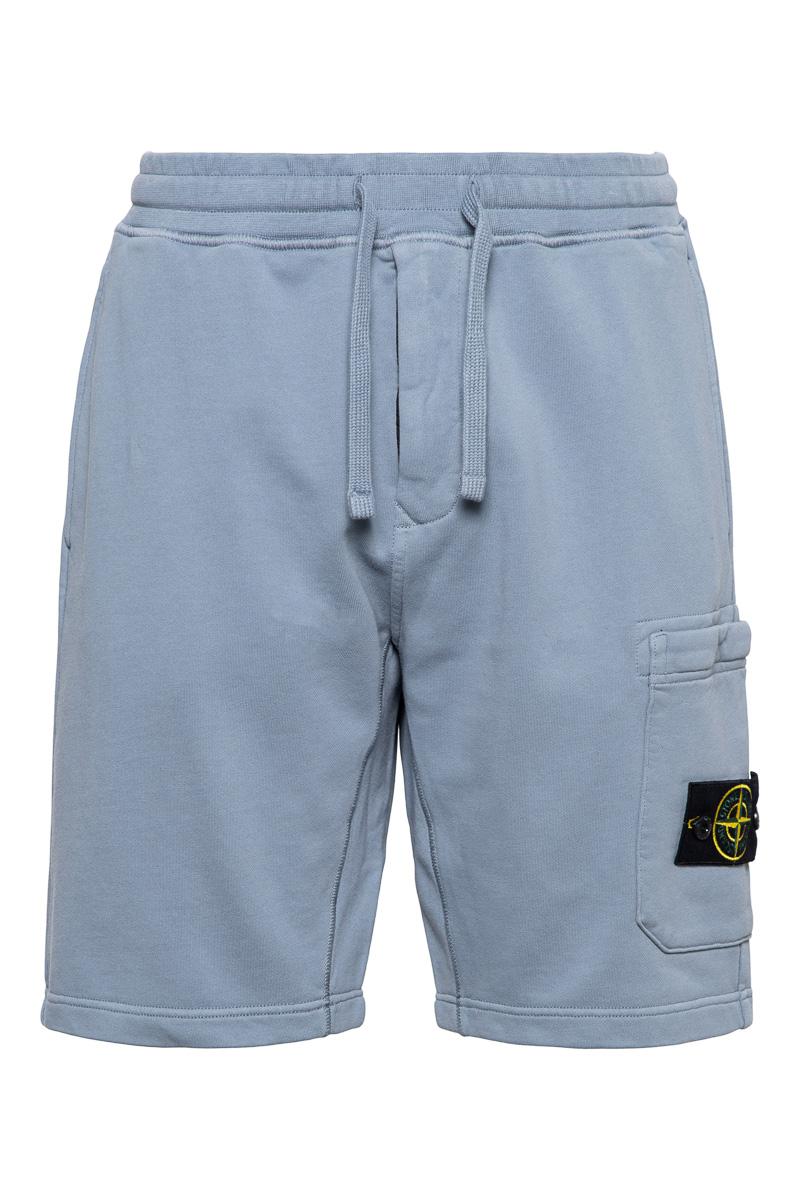 Stone Island Short 64651 Cotton Fleece Bermuda 100% Katoen Lichtblauw