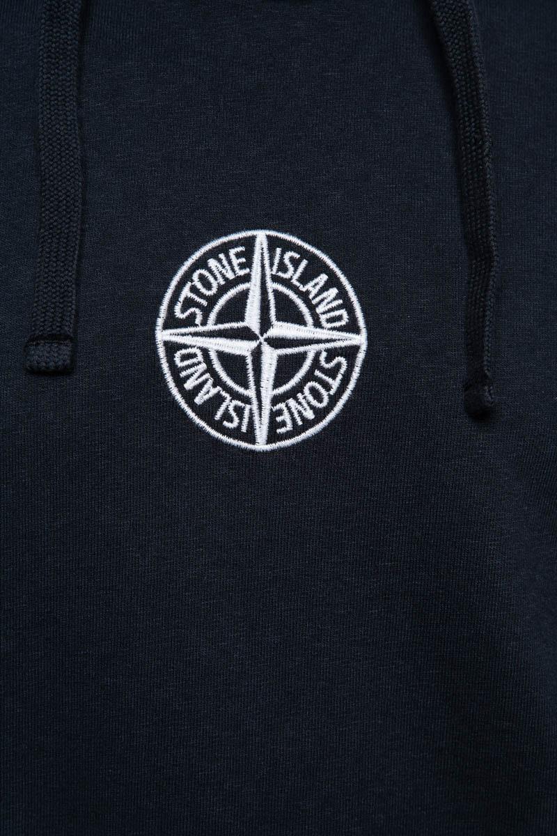 Stone Island Hoodie 61159 Cotton Fleece Hoody 100% Katoen Embro Donkerblauw Foto 3