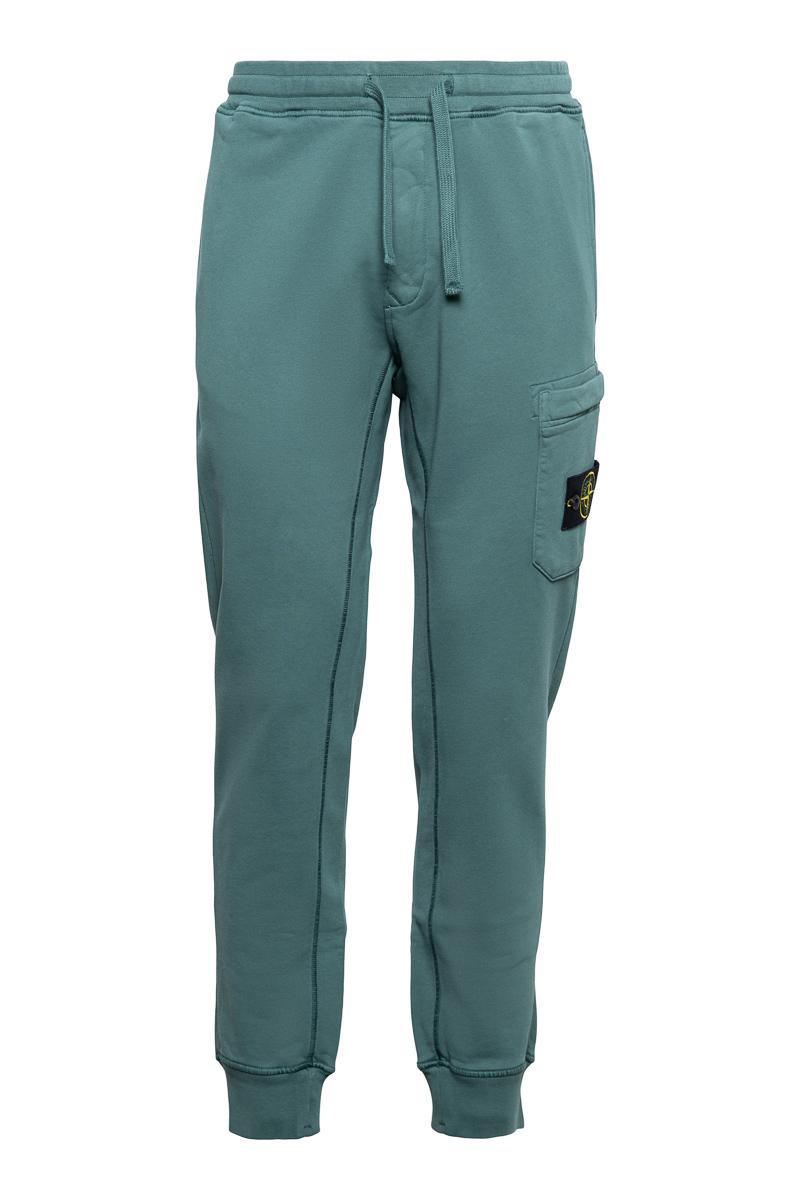 Stone Island Broek 64551 Cotton Fleece Pants 100% Katoen Zeegroen