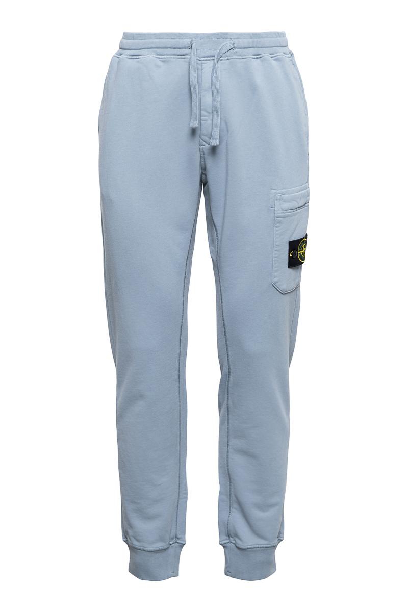 Stone Island Broek 64551 Cotton Fleece Pants 100% Katoen Blauwgrijs Foto 1