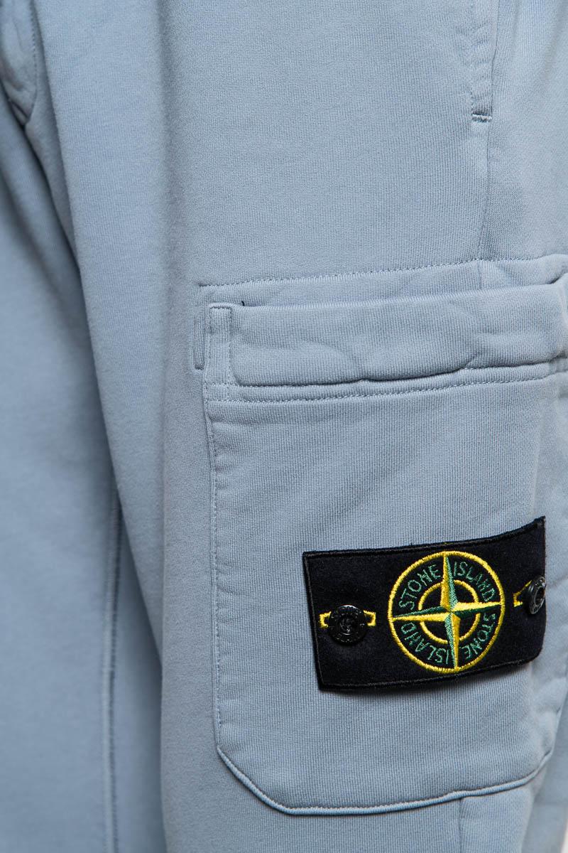 Stone Island Broek 64551 Cotton Fleece Pants 100% Katoen Blauwgrijs Foto 3