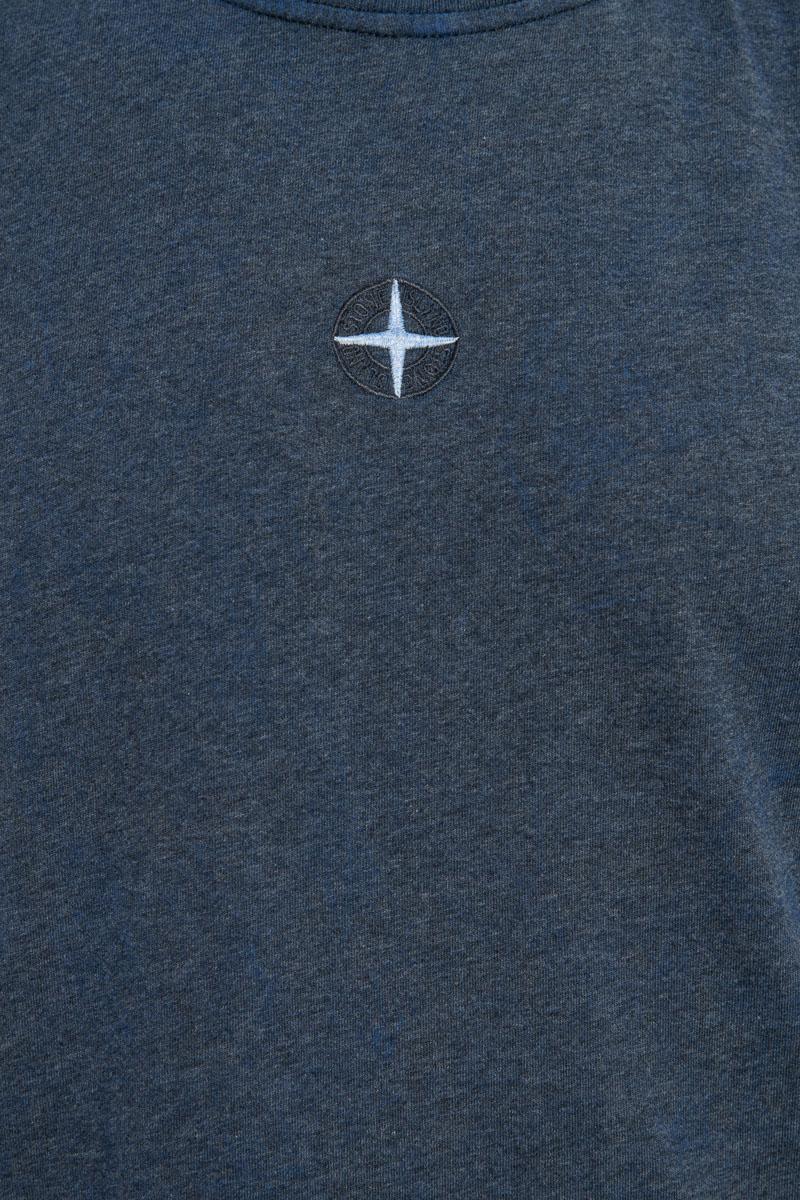 Stone Island T-shirt 22893 Jersey Cotone Melange Dust Donkerblauw Foto 3