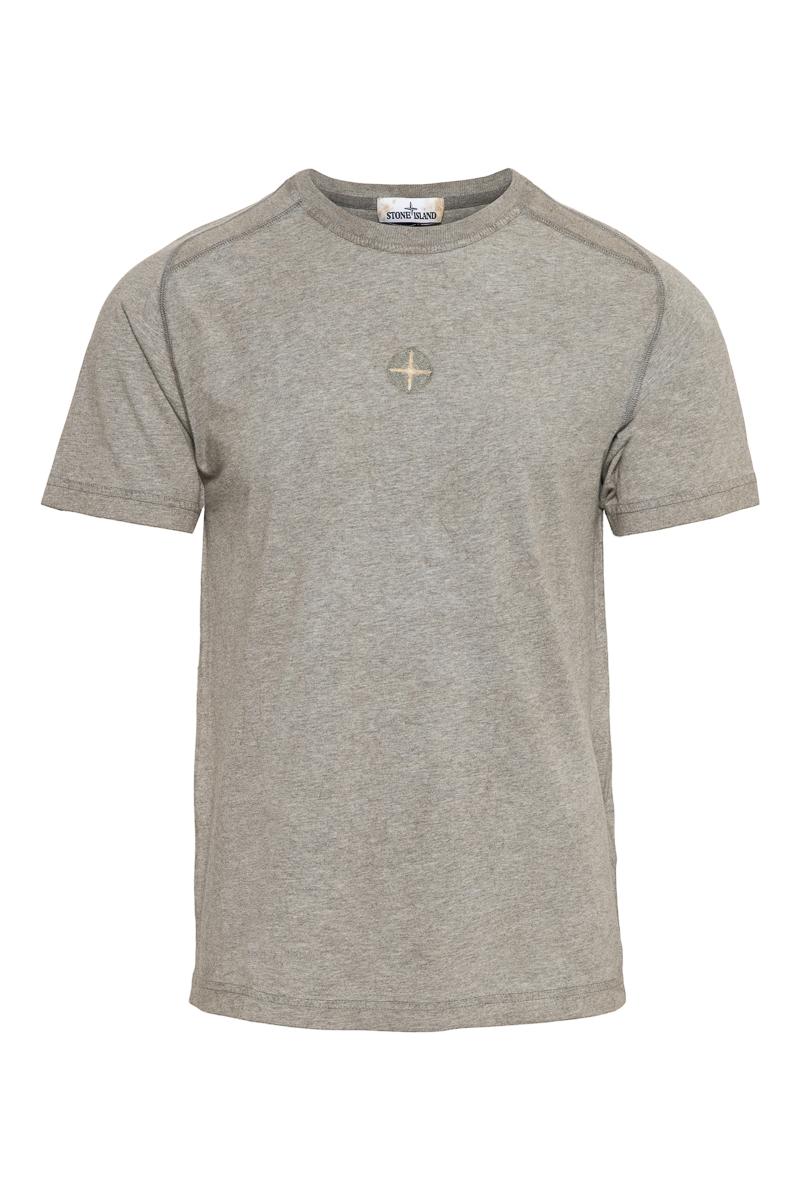Stone Island T-shirt 22893 Jersey Cotone Melange Dust Olijfgroen Foto 1