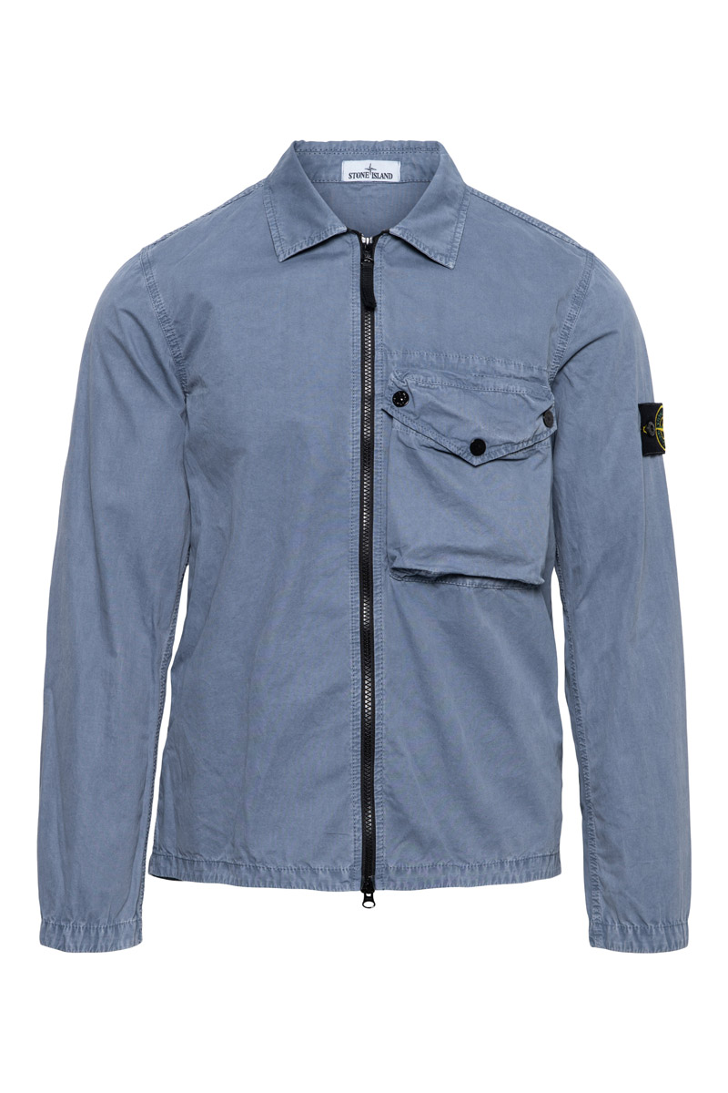 Stone Island Overshirt 117WN Pocket Smerigliata Cotton Blauw Grijs
