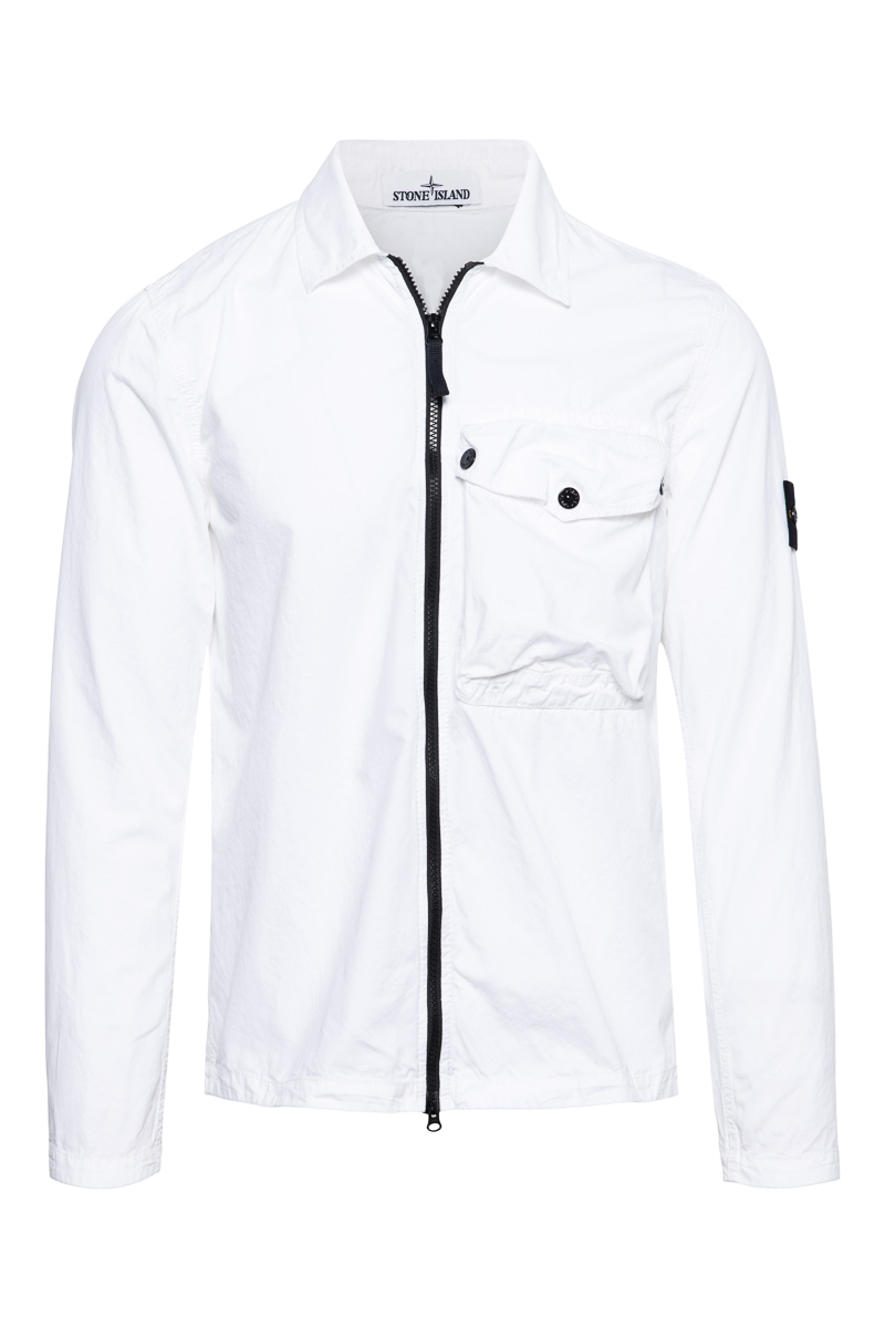 Stone Island Overshirt 117WN Pocket Smerigliata Cotton Wit