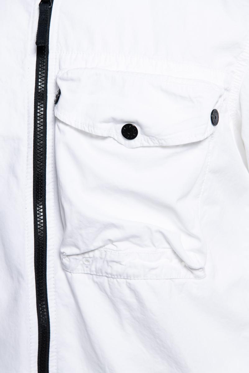 Stone Island Overshirt 117WN Pocket Smerigliata Cotton Wit Foto 3