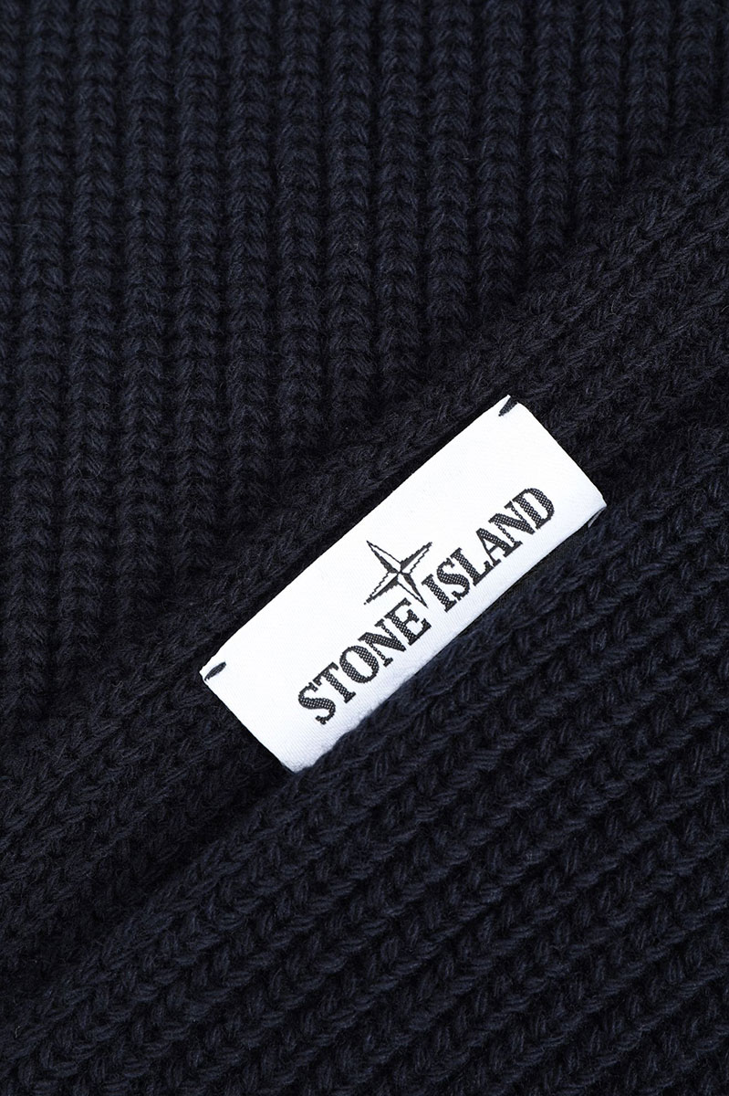 Stone Island Sjaal N15B5 Scarf 100% Wol Blauw Foto 3