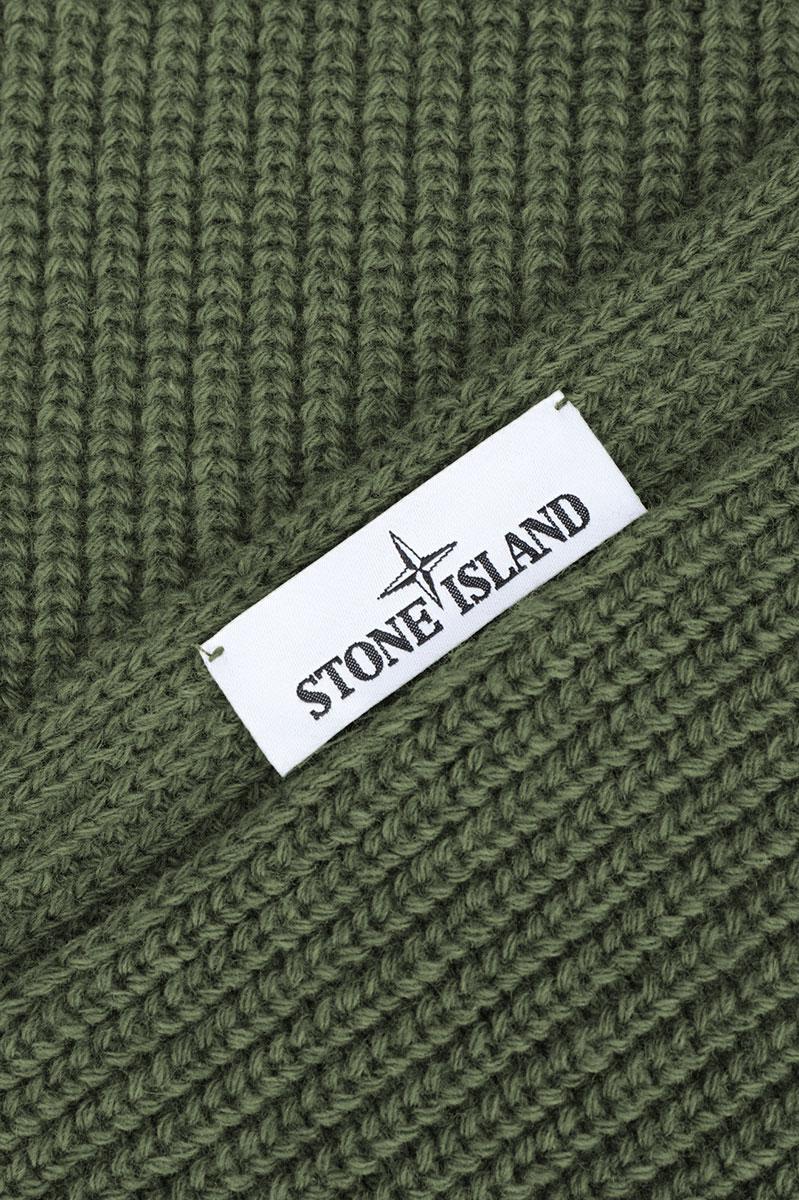 Stone Island Sjaal N15B5 Scarf 100% Wol grijs Olive Foto 3