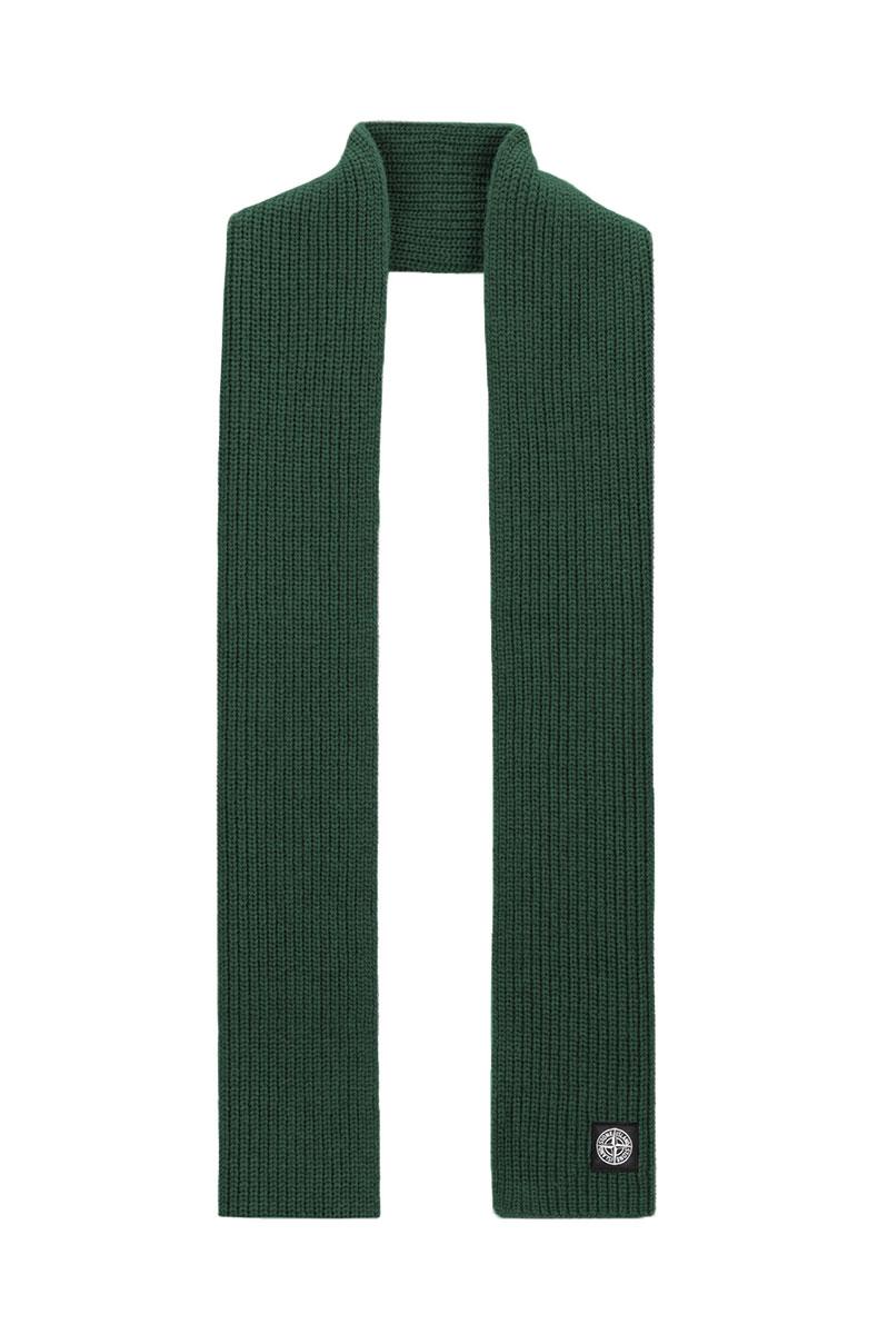 Stone Island Sjaal N15B5 Scarf 100% Wol Petrol groen Foto 1