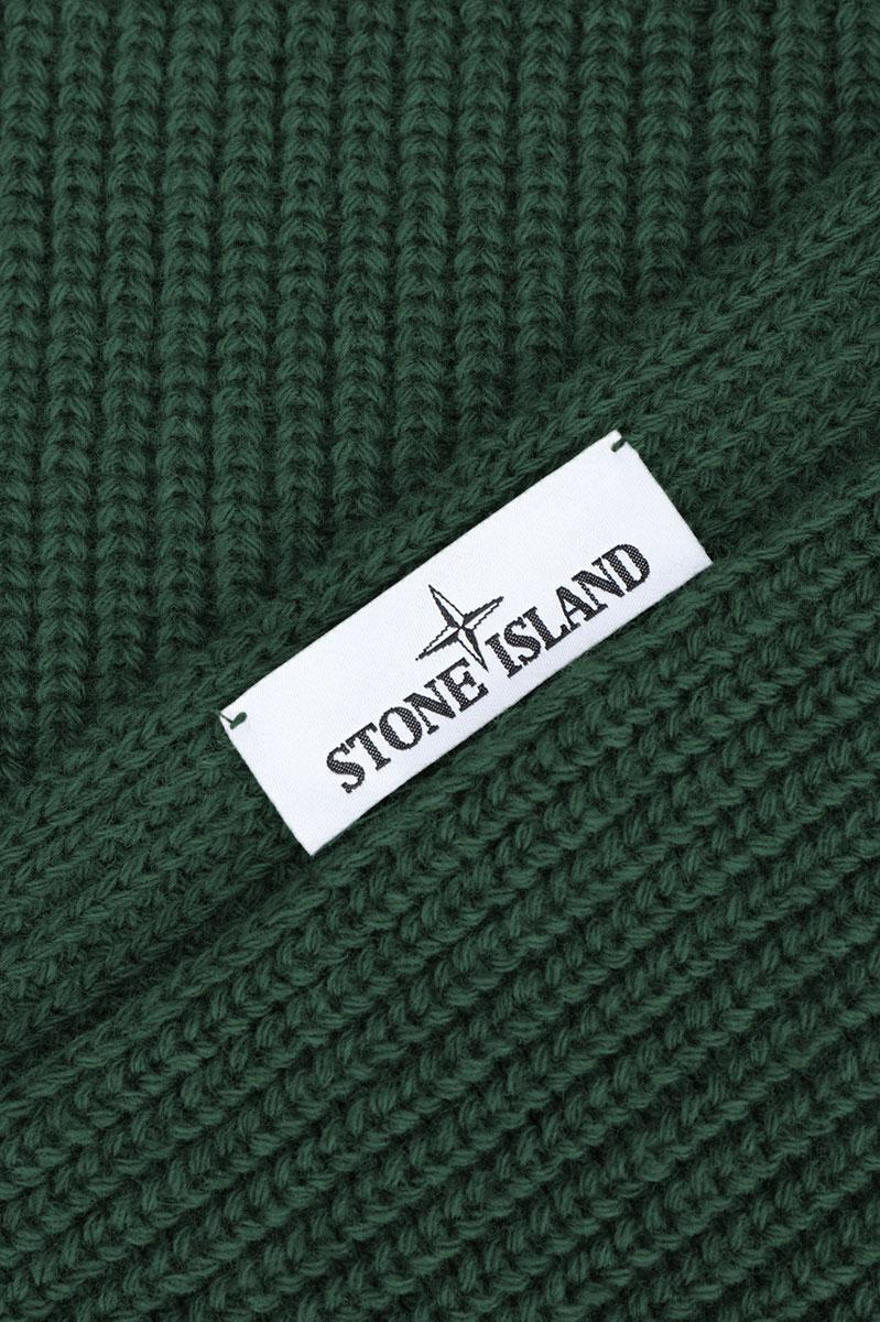Stone Island Sjaal N15B5 Scarf 100% Wol Petrol groen Foto 3