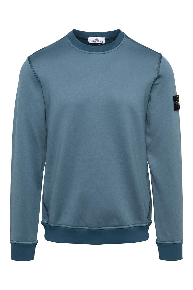 Stone Island Sweater 63547 Crew Neck Cotton mix staalblauw Foto 1