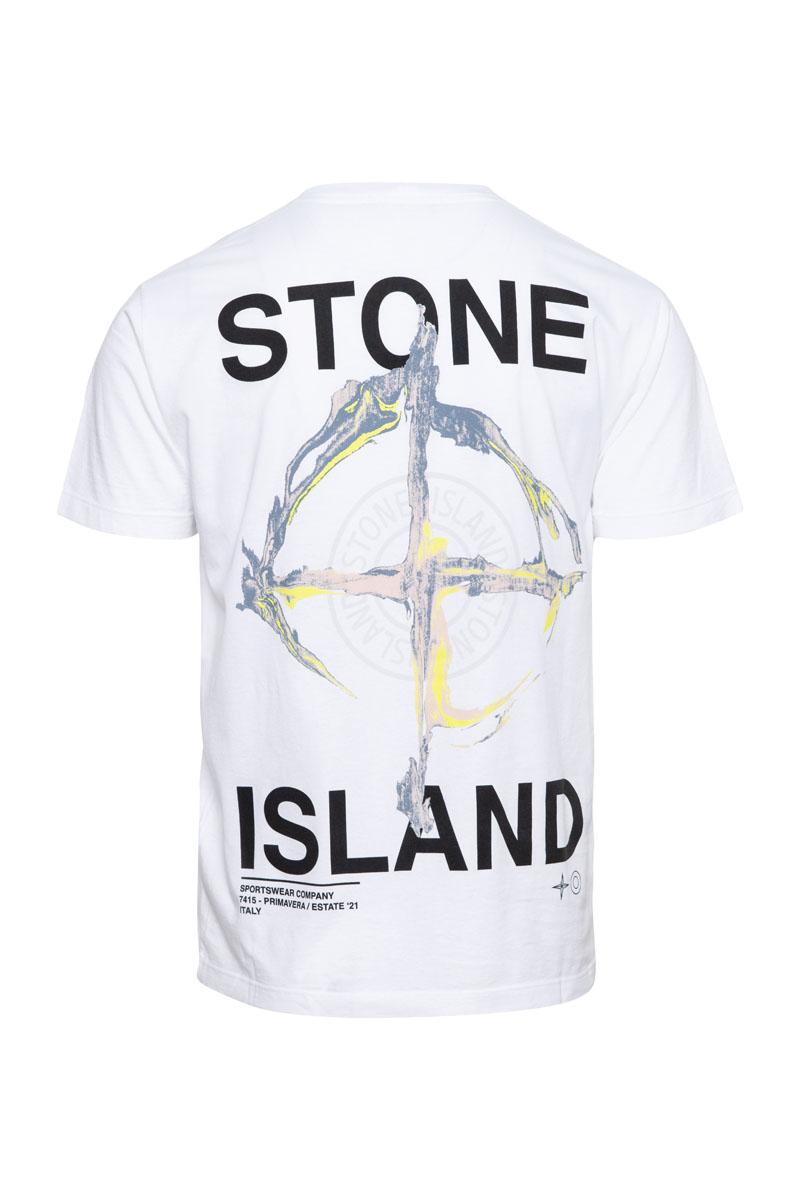 Stone Island T-Shirt 100% Katoen Print On The Back Foto 2