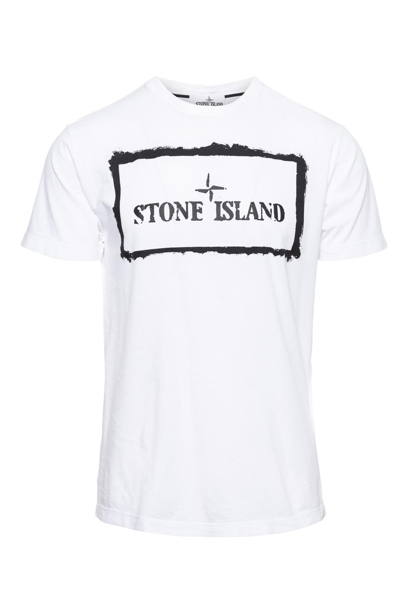 Stone Island T-Shirt 100% Katoen Print On The Fron