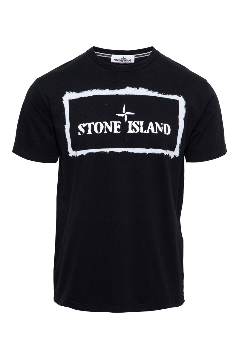 Stone Island T-Shirt 2NS80 100% Katoen Print On The Front Zwart
