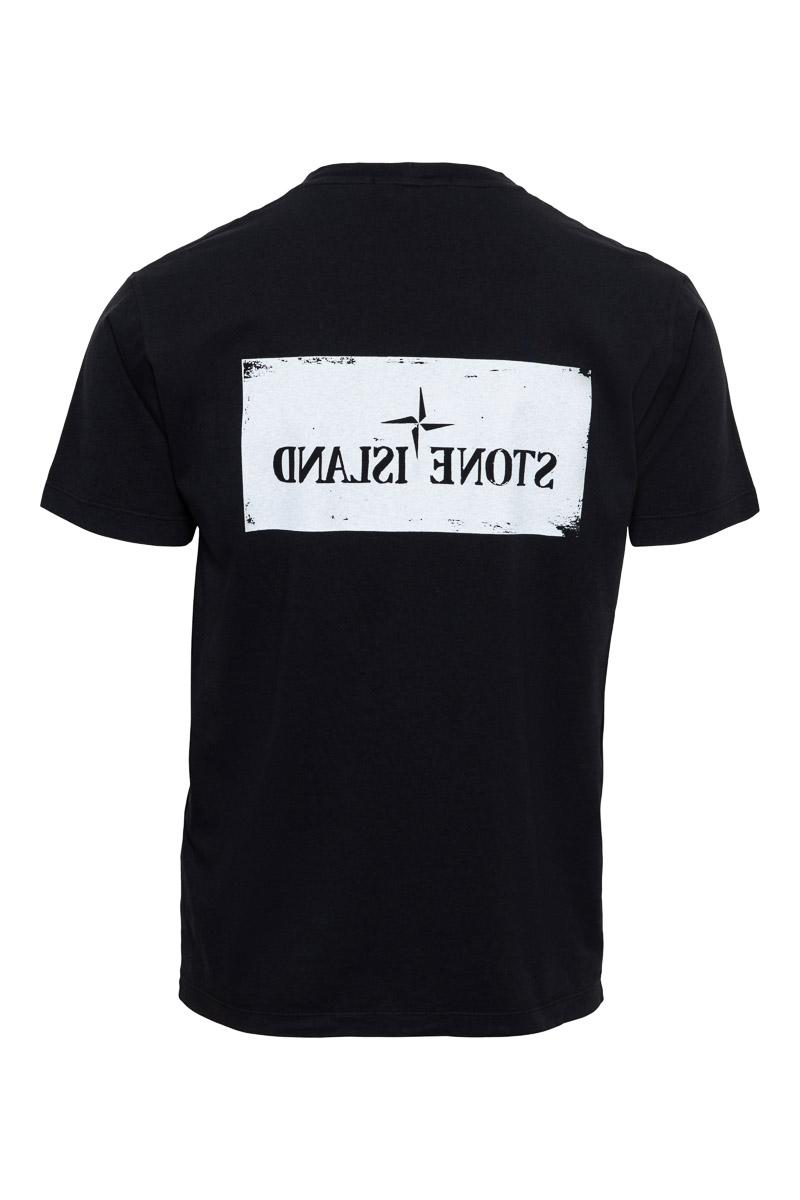Stone Island T-Shirt 2NS80 100% Katoen Print On The Front Zwart Foto 2