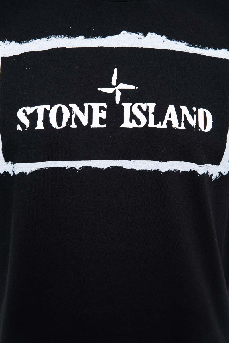 Stone Island T-Shirt 2NS80 100% Katoen Print On The Front Zwart Foto 3