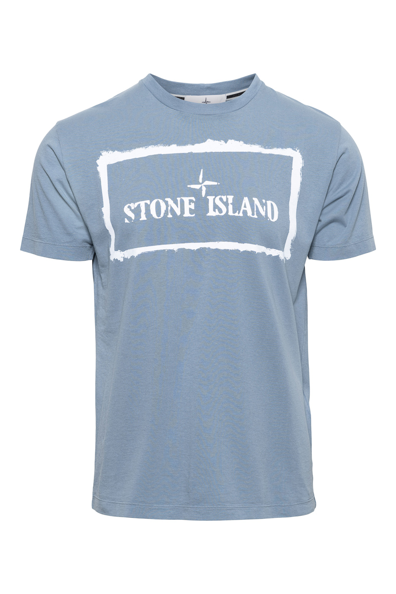 Stone Island T-Shirt 100% Katoen Print On The Fron Foto 1
