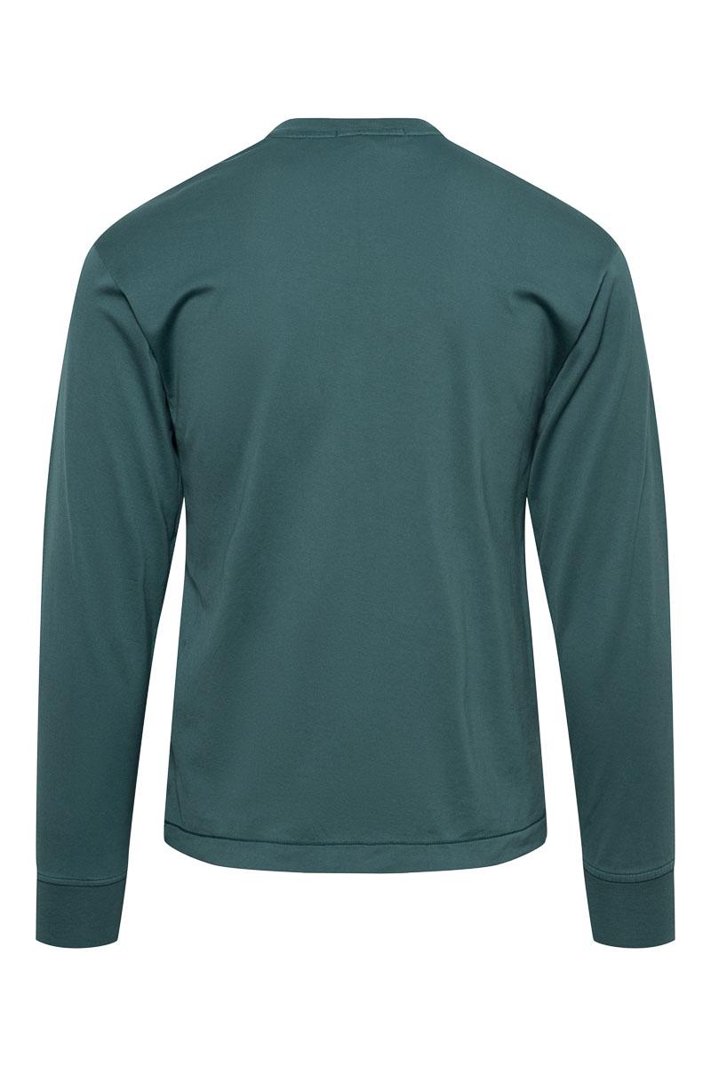 Stone Island T-Shirt 22713 Lange Mouw Gemerceriseerd Donkergroen Foto 2