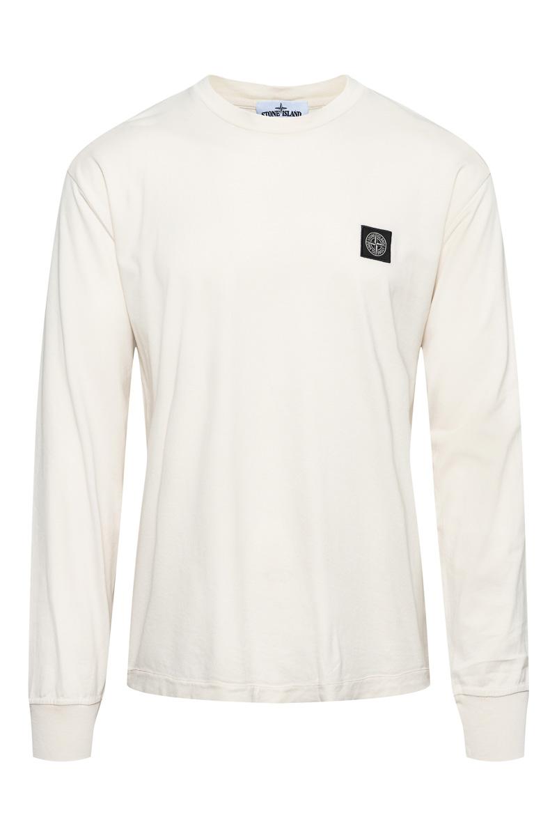 Stone Island T-Shirt 22713 Lange Mouw Gemerceriseerd Ecru