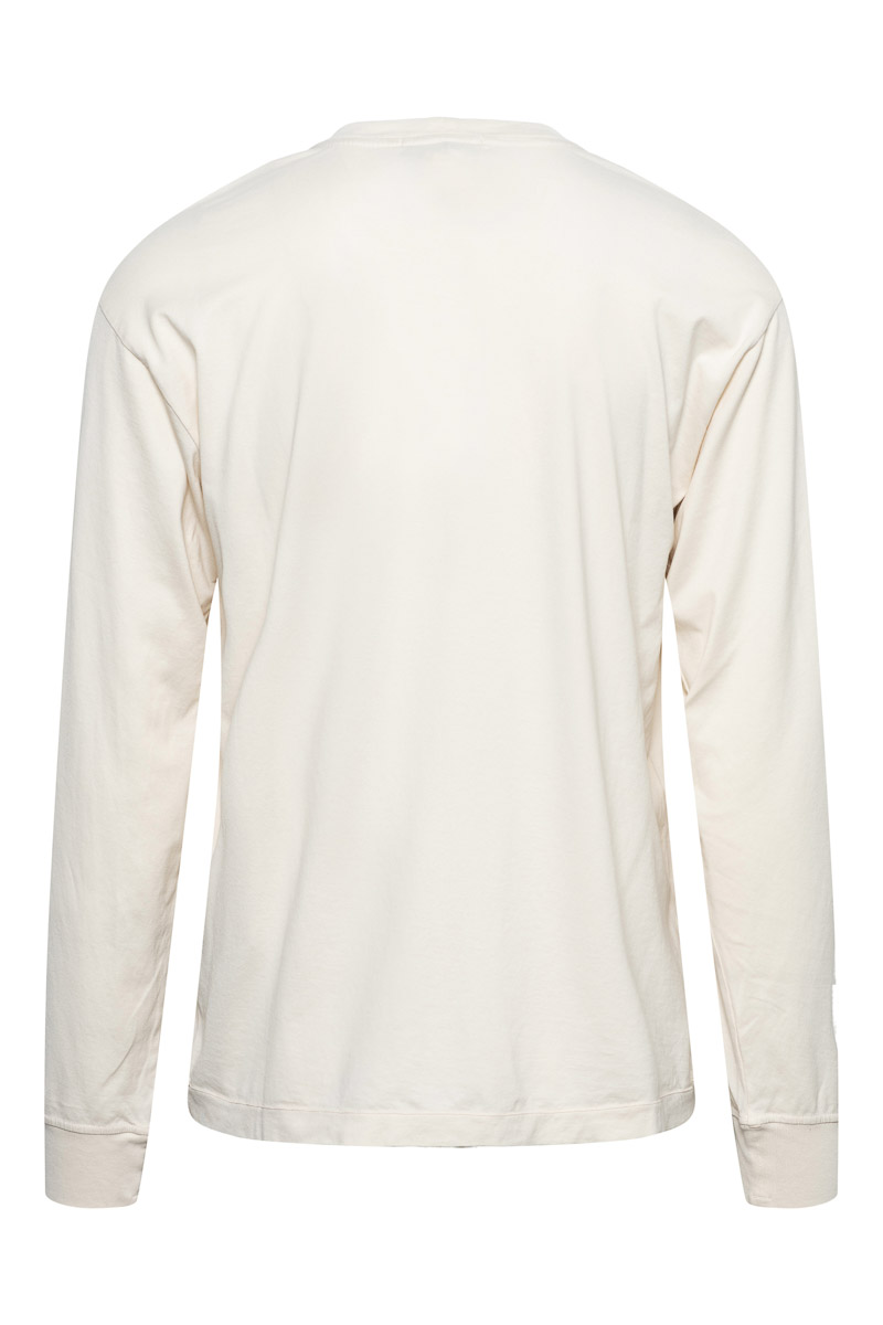 Stone Island T-Shirt 22713 Lange Mouw Gemerceriseerd Ecru Foto 2