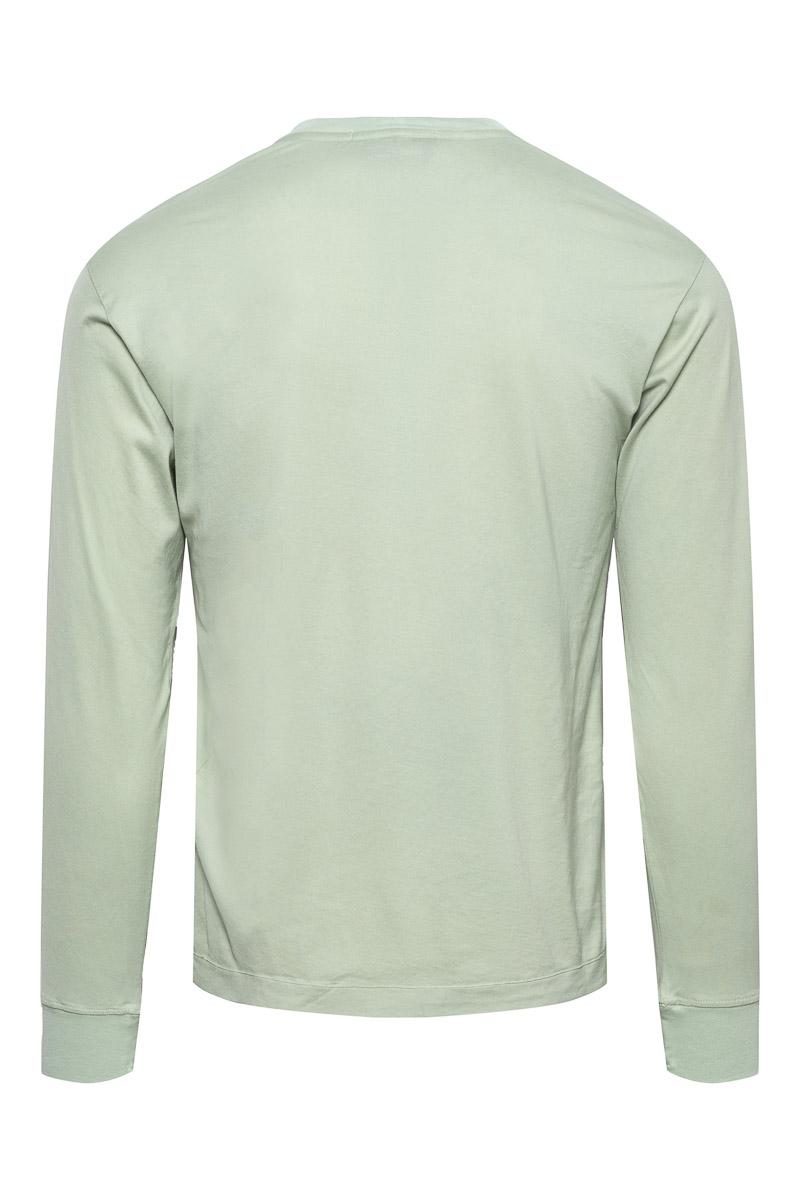 Stone Island T-Shirt 22713 Lange Mouw Gemerceriseerd Lichtgroen  Foto 2