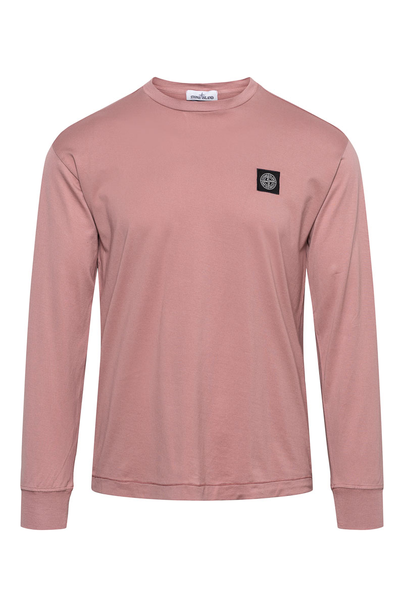 Stone Island T-Shirt 22713 Lange Mouw Gemerceriseerd Roze