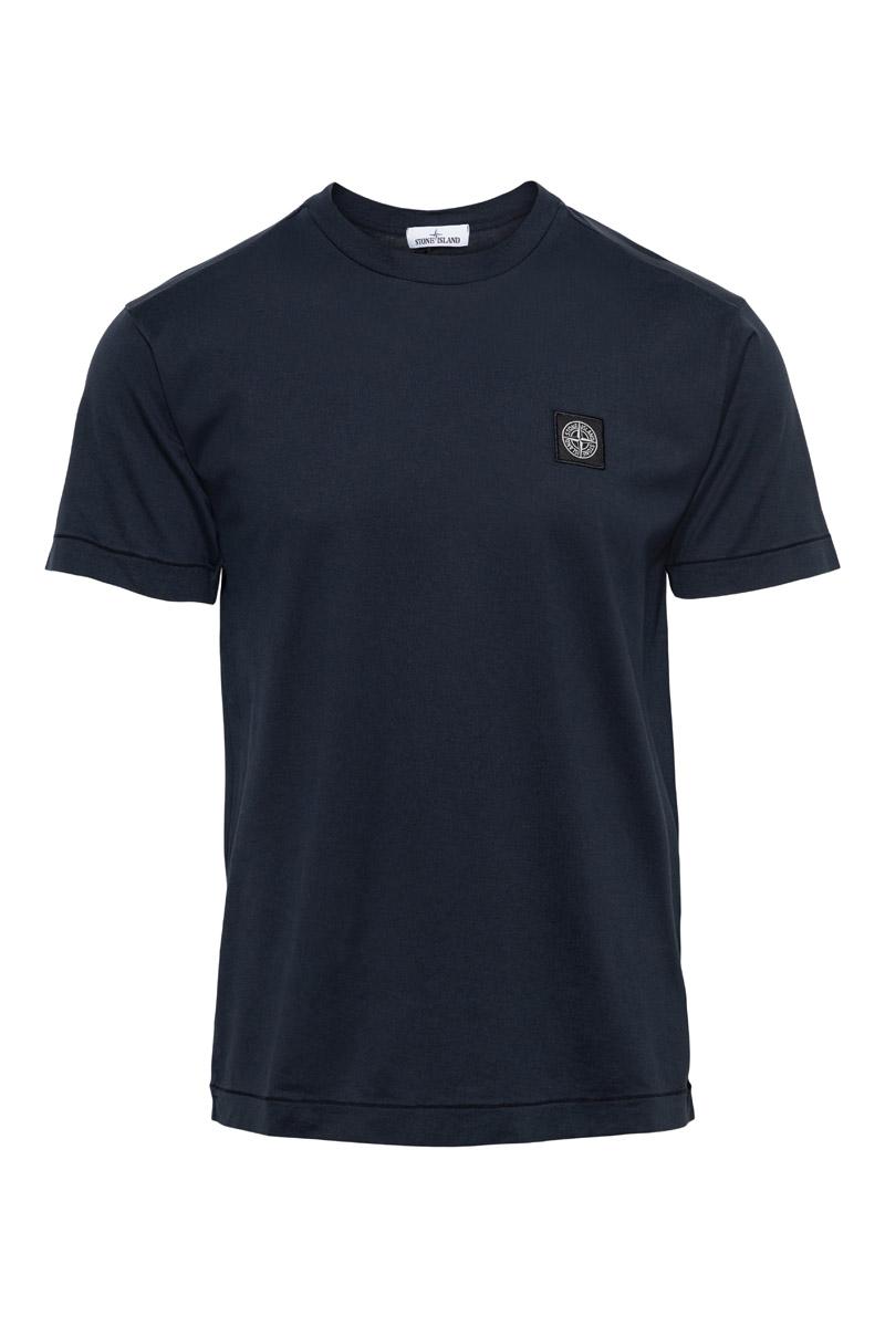 Stone Island T-Shirt 24113 100% Katoen Gemerceriseerd Donkerblauw Foto 1