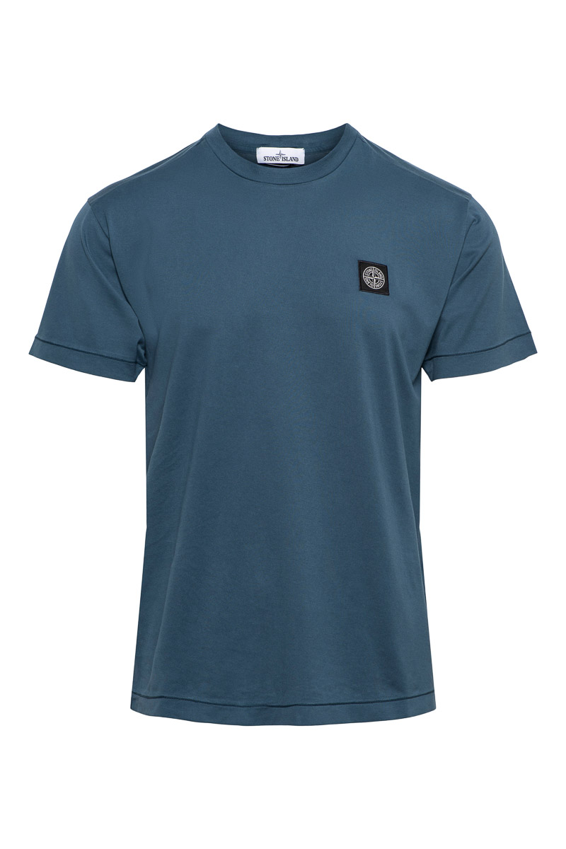 Stone Island T-Shirt 24113 Korte Mouw Slim fit Cotton Staalblauw