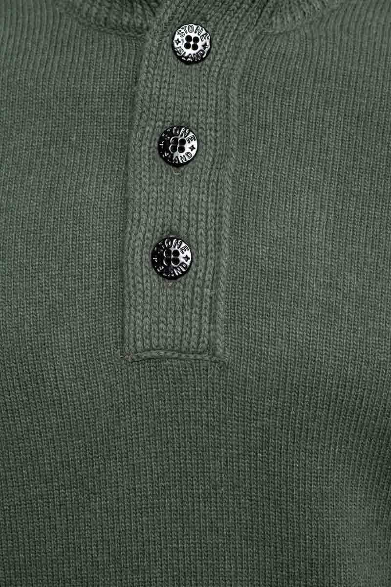 Stone Island Trui 027877 Polo Neck Lambs Wool Mix donkergroen Foto 3
