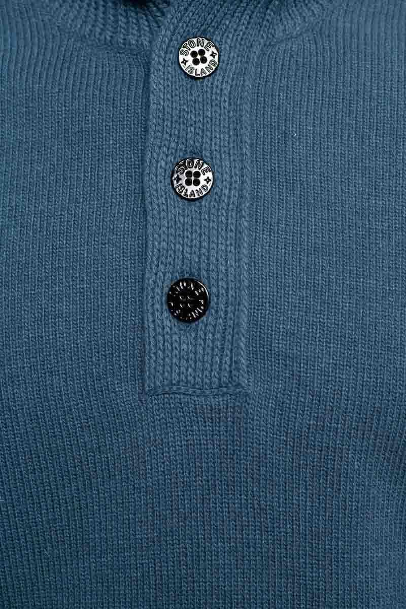 Stone Island Trui 540A3 Polo Neck Lambs Wool Mix Staalblauw Foto 3