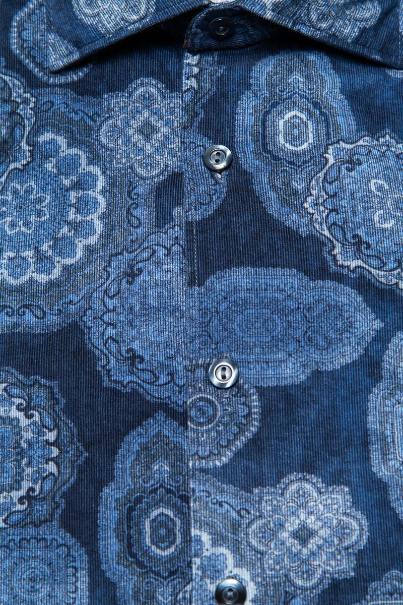 Tintoria Mattei Overhemd 100% Katoen Rib Delftsbla Foto 2