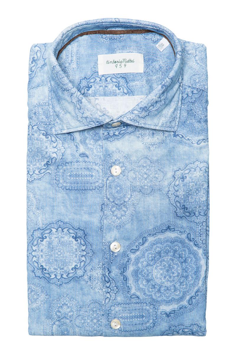 Tintoria Mattei Overhemd 100% Katoen Rib Delftsbla Foto 1