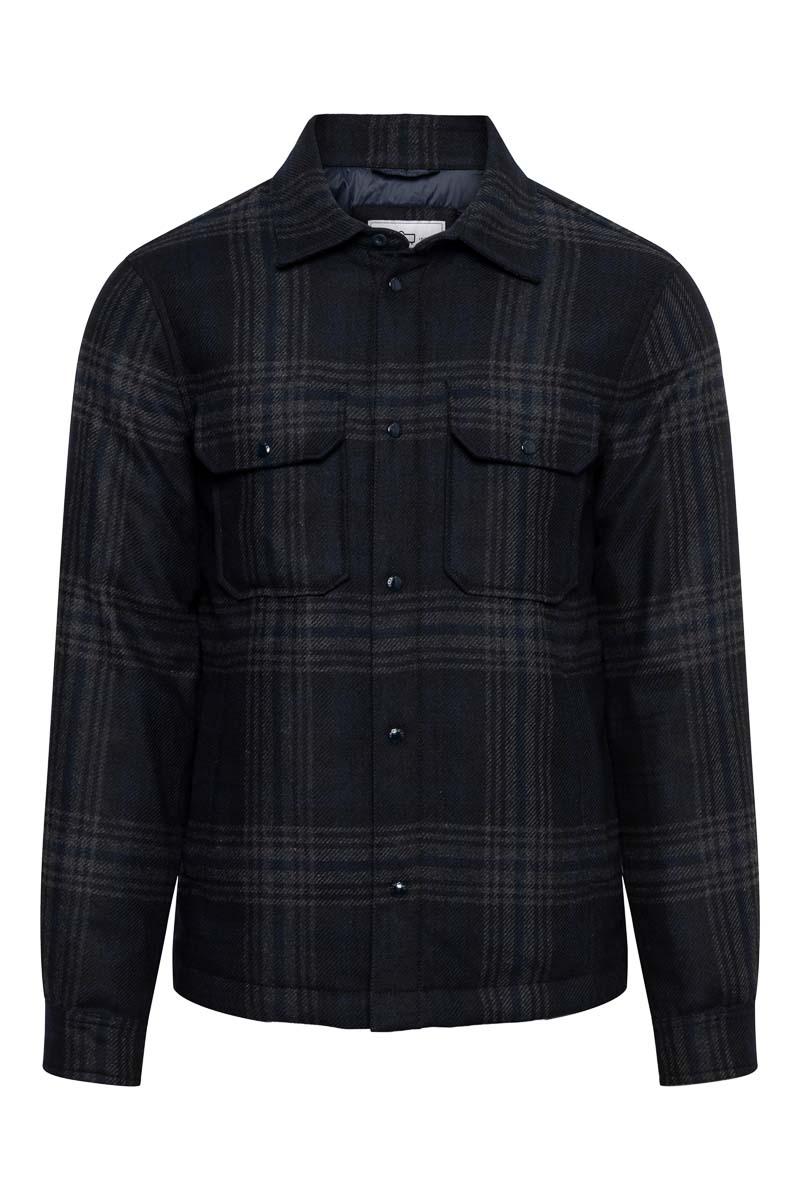 Woolrich Alasken Wool Overshirt Dons Gevoerd zwart geblokt Foto 1