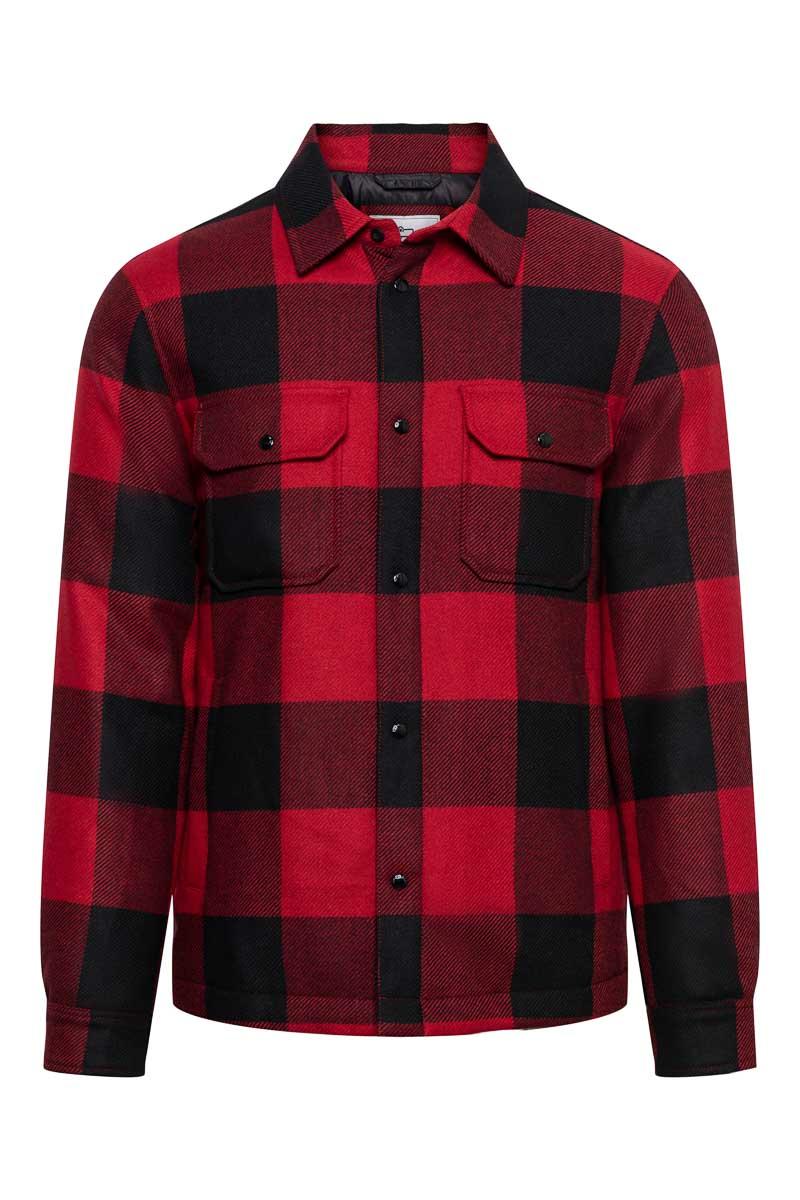 Woolrich Alasken Wool Overshirt Dons Gevoerd rood geblokt Foto 1