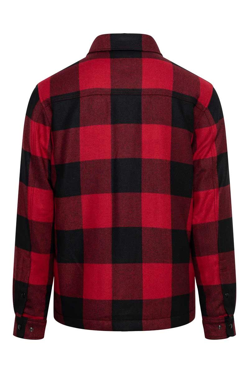 Woolrich Alasken Wool Overshirt Dons Gevoerd rood geblokt Foto 2
