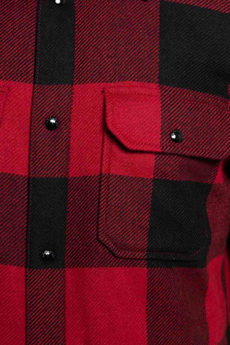 Woolrich Alasken Wool Overshirt Dons Gevoerd rood geblokt Foto 3