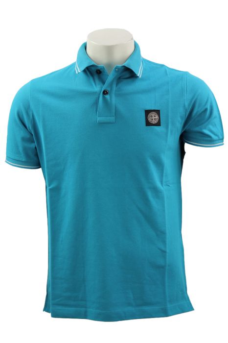 Stone Island Poloshirt 22S18 katoen Stretch Turquoise