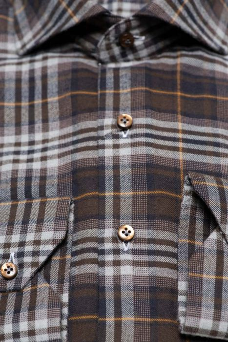 BT Casual Overhemd 100% Cotten Flanel Washed Donkerbruin