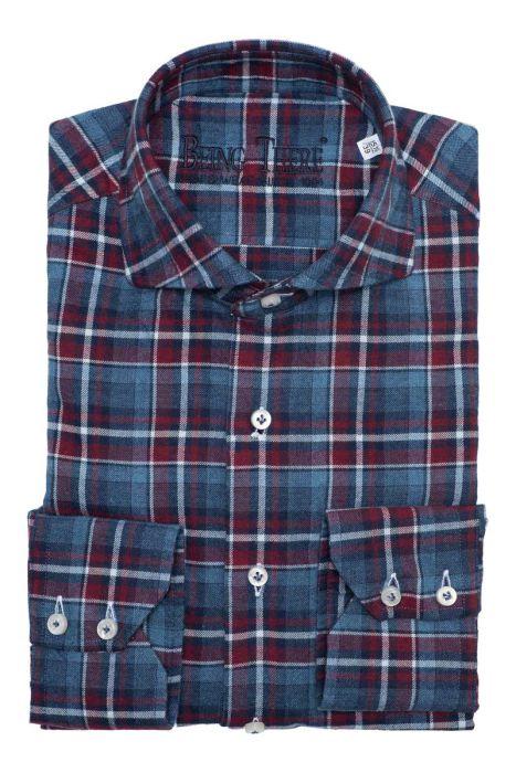 BT Casual Overhemd 100% Cotten Flanel Washed Middenblauw